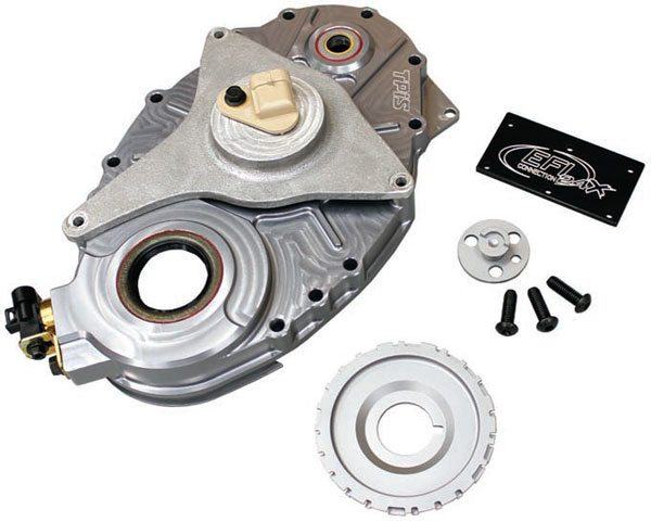 Due to the crankshaft seal area of the GM LT1 timing cover, a crankshaft reluctor and double-row timing set cannot be used with a GM LT1 timing cover. TPIS manufactures several anodized billet-aluminum timing cover solutions for use with EFI Connectionís 24x small-block/LT1 crankshaft reluctor. The TPIS billet-aluminum timing covers are available with or without provision for the upper water pump driveshaft. A big-block Chevy diameter crank seal is also an option for engines requiring a larger-diameter crankshaft hub or balancer.