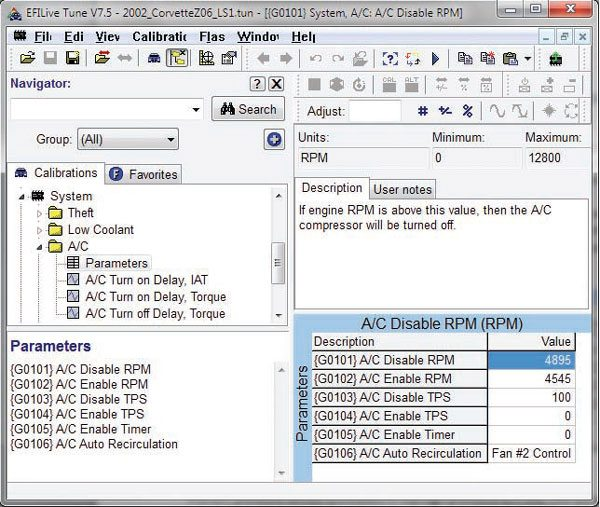 EFILive tuning software presents calibration details for the operation of the A/C compressor clutch. Notice that the A/C compressor is disabled above 4,895 rpm or a TPS value of 100 percent (also known as WOT).