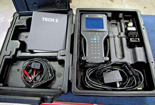 The Tech2 is the scan tool used by GM repair technicians to troubleshoot, diagnose, and reprogram on-board modules. Because of its price, many owners choose an alternative tool for retrieving and clearing OBD-II codes. (Photo Courtesy Keith McCord).