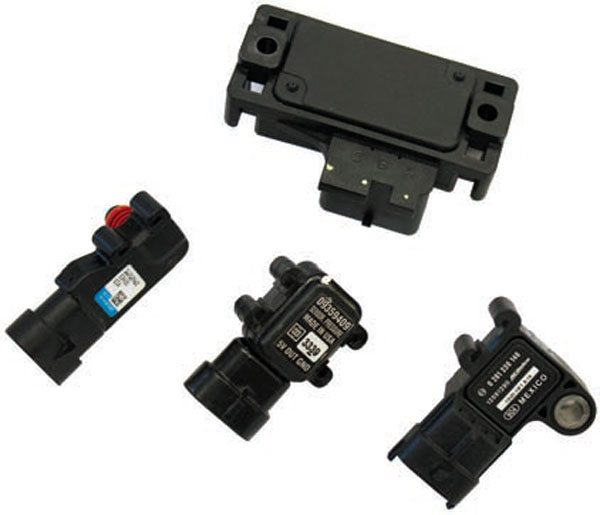 The early GM MAP sensor (top) has a provision for being mounted just about anywhere it fits. All that is required is a vacuum hose from the intake manifold plenum to the sensor. This sensor is found on 1991–1992 TPI engines and 1992–1997 LT1 engines. The LS1/LS6/LS2 MAP sensor (bottom left) is sealed to the intake manifold with a rubber seal. The MAP sensor used with the LS-series engine in the GM  trucks (bottom middle) are functionally the same as the LS1/LS6/LS2 MAP sensor. The LS3 intake manifold accepts a different sensor (bottom right) that is not physically interchangeable with the other LS-series MAP sensors. Although the signal to the PCM is basically the same, it is best to choose the sensor you want to use before tuning your PCM to avoid any potential differences in the signal voltage range.