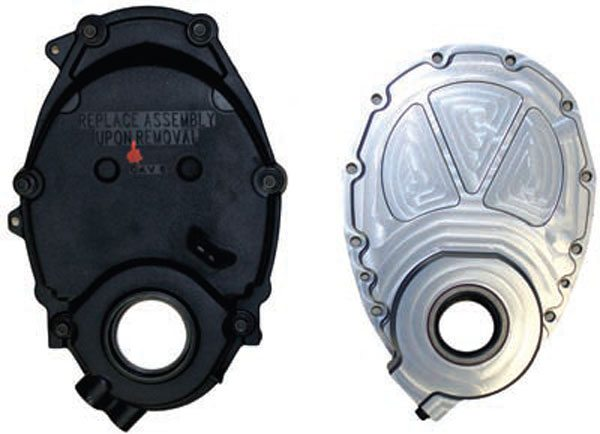 Plastic Vortec timing cover and TPIS billet small-block timing cover.