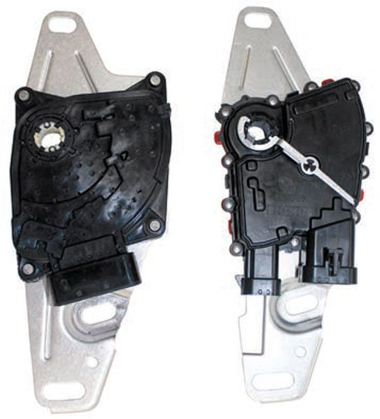 The early gear select switch (right) was used on 4-speed automatic transmissions through 2003. The late gear select switch (left) was used with 2004 and newer 4-speed automatic transmissions. The switches are functionally the same and even interchange with the transmission case, but require different harness connectors. Installing a gear select switch on a transmission not originally equipped with one (such as the LT1 F-Body 4L60-E) requires a longer gear select shaft to be installed.