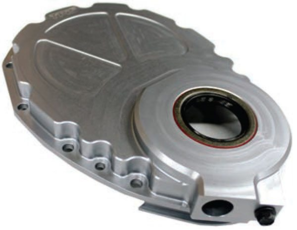 TPIS designed and manufactures this beautiful billet-aluminum timing cover for small-block chevy engines. This timing cover eliminates oil leak issues of the 1996-newer Vortec V-8 timing cover when used with a 1995 or older small-block chevy engine.
