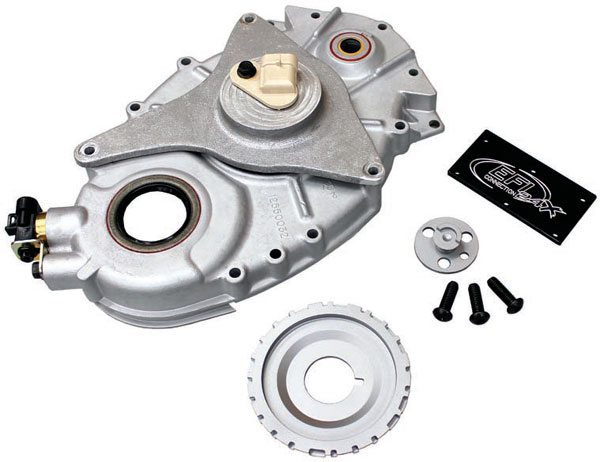 EFI Connectionís 24x LT1 conversion kit includes a crankshaft reluctor, crankshaft sensor, camshaft reluctor, camshaft sensor, and camshaft sensor housing. The camshaft sensor housing is installed on the face of the timing cover where the Optispark distributor used to reside. A 1996ñ1997 LT1 timing cover is required.