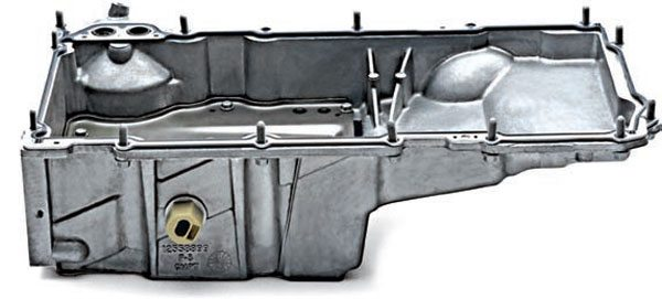 The 1998–2002 F-Body LS1 pan is the most commonly used LS oil pan. Typically referred to as the F-Body or Camaro pan, it works well with custom chassis crossmembers, and it is also the most frequently modified pan. It fits most 1958–1964 GM cars without any modifications. (Photo Courtesy Chevrolet Performance