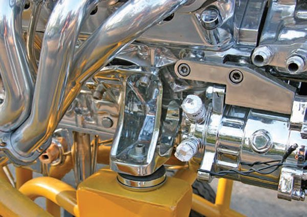 Street & Performance offers many different adapter plates to correctly position the engine in different chassis designs. These plates fit the Tri-Five GM cars. This is called a biscuit mount, and many early GM V-8 chassis use this style of mount. (Photo Courtesy Street & Performance)