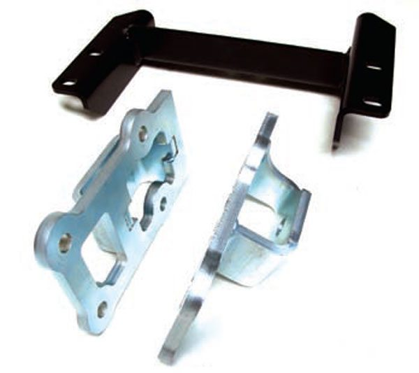 Hooker's LS swap kit for the Nissan 240SX features a transmission cross-member bracket and motor mounts. These allow the installation of an LS engine into an S13 Nissan body along with a T56 manual transmission. This kit is compatible with the Canton Racing oil pan, expressly designed to fit in the S14 Nissan chassis. (Photo Courtesy Holley Performance Products)