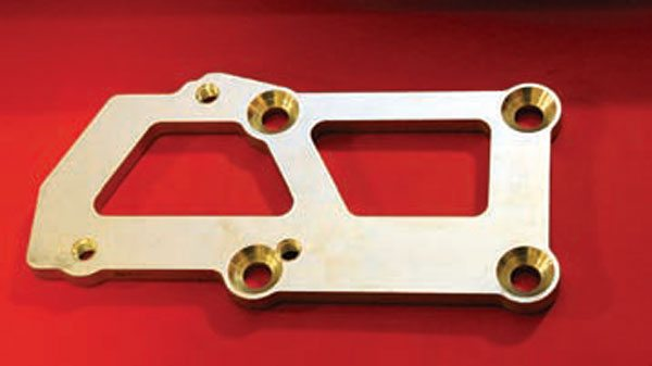 Basic adapter plates are the most common solution for LS engine swaps. They bolt to the Gen III/IV four-bolt motor mount pad and allow a three-bolt GM motor mount to bolt on, and they work with most headers. Made of rugged 3/8-inch-thick hot-rolled steel, they are zinc plated and include countersunk machine screws.