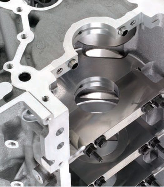 The scalloped holes (top right) at the side of the main webs on this block are the crankcase breathing holes. This promotes proper ventilation for the air and oil vapor in Gen III/IV engines. (Photo Courtesy General Motors)
