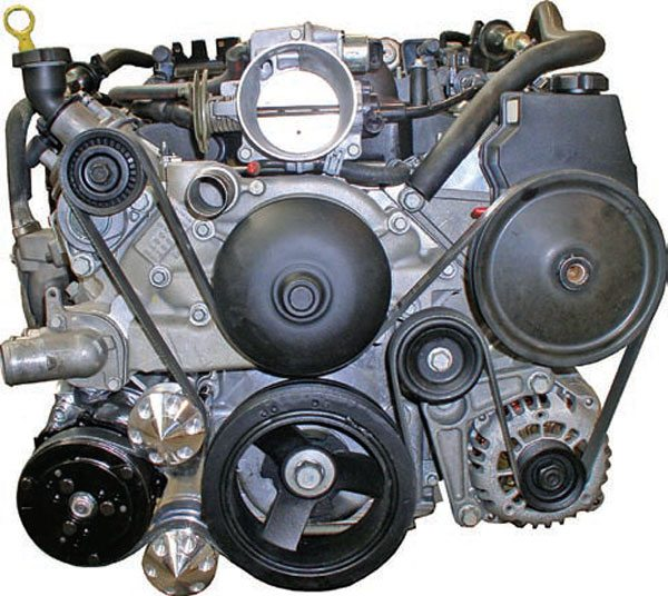 This is the 1998–2002 LS1 F-Body drive system. The accessories fit some-what tight to the engine, but the A/C compressor and alternator can still be difficult to fit to the chassis. (Photo Courtesy Street & Performance)