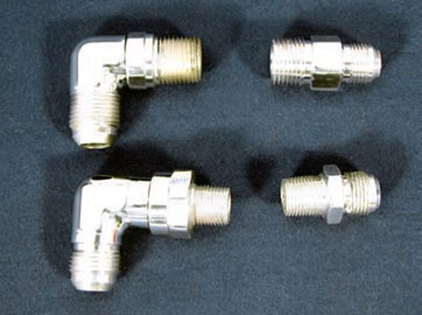 1. These fittings accept AN -8 or -10 lines, depending on the size needed. AN fittings look nice on heater hoses. (Photo Courtesy Street & Performance)