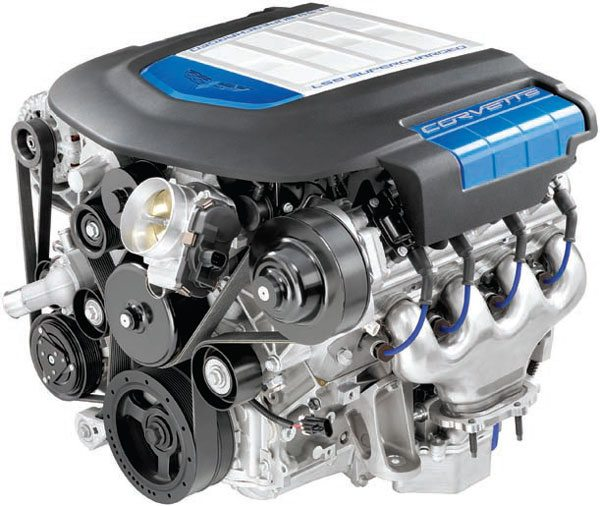The LS9 is the bad boy from the Gen IV line, making 638 hp with the intercooled supercharger. The 6.2-liter engine is avail-able as a crate engine from GM Performance. (Photo Courtesy General Motors)