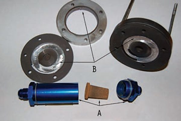 These parts show what happens when the pump cavitates. A shows a typical off-brand filter. The small sintered metal filter restricts flow to the pump. B shows the actual damage inside the pump. The cavitation grooves out the aluminum, sending shavings into the system and ruining the pump. (Photo Courtesy Aeromotive)