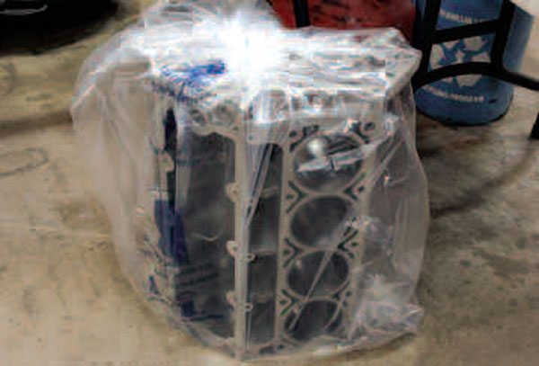After the final cleaning, your machine shop should deliver your completed block to you in a sealed bag to keep dirt, moisture, and other contaminants away. They'll also have sprayed key areas of the block with some temporary rust protectant so that it can safely sit in storage until you're ready to work on it.