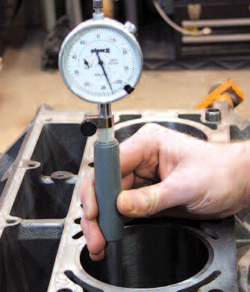 Don't know whether your engine block has been used in a rebuild before? You can use a dial bore gauge to roughly measure your cylinder bore and see if it's near stock spec (stock bore sizes are listed in the engine RPO table in Chapter 1). Oversize of a few thousandths or more means the block has probably already been overhauled. Since there is a practical limit to how far Gen III/IV engine block cylinder bores can be resized (the exact amount varies by block type and year), this could indicate insufficient material left to work with in the cylinder walls. This is particularly true in the case of aluminum blocks, whose pressed or cast-in iron cylinder liners are often thin.