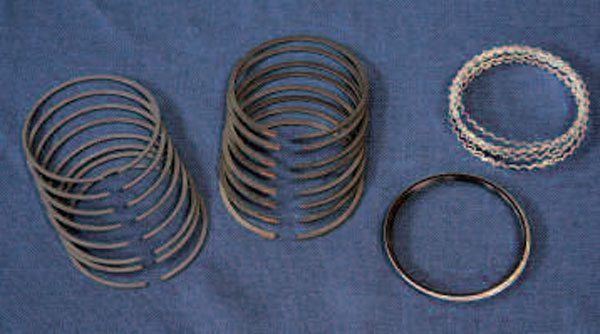 Aside from being a wear item, piston rings must closely match your chosen piston, and you'll definitely need a complete set for any rebuild. Many different ring materials and styles are available to fit a given application and budget. Here is a full set from Sealed Power comprising (from left to right): 1.5mm moly-faced top rings; 1.5mm iron second rings; and 3mm oil ring rails and expanders.