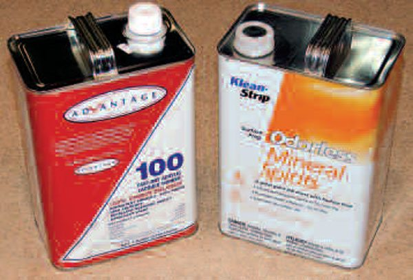 Used mainly in paint preparation, mineral spirits is inexpensive and can be found almost anywhere. You'll go through a lot of this stuff, so get at least one large container of it. A stronger solvent you may wish to try on particularly dirty parts is 100 percent virgin acrylic lacquer thinner, but this stuff is a lot nastier, highly flammable, and should be used sparingly and with extreme care.
