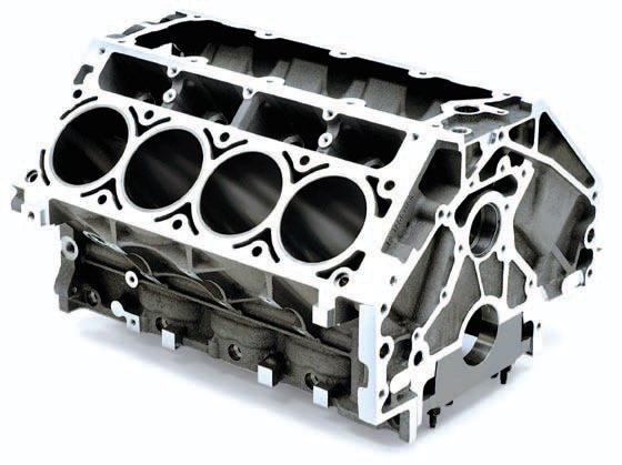 """All LS1 and LS6 blocks have the same basic construction, cast from 319-T5 aluminum with centrifugally spun iron cylinder liners in place. They have a 3.898-inch bore with knock sensor provisions located in the lifter valley. Powdered metal (steel) main caps are used in each of these deceptively strong blocks, though only the LS6 block has bulkhead windows that enhance bay-to-bay breathing in the crankcase. These blocks only tolerate a light hone to the cylinders and have short cylinders that don't respond well to stroker cranks because of their undersquare nature and the dreaded """"piston rock."""""""