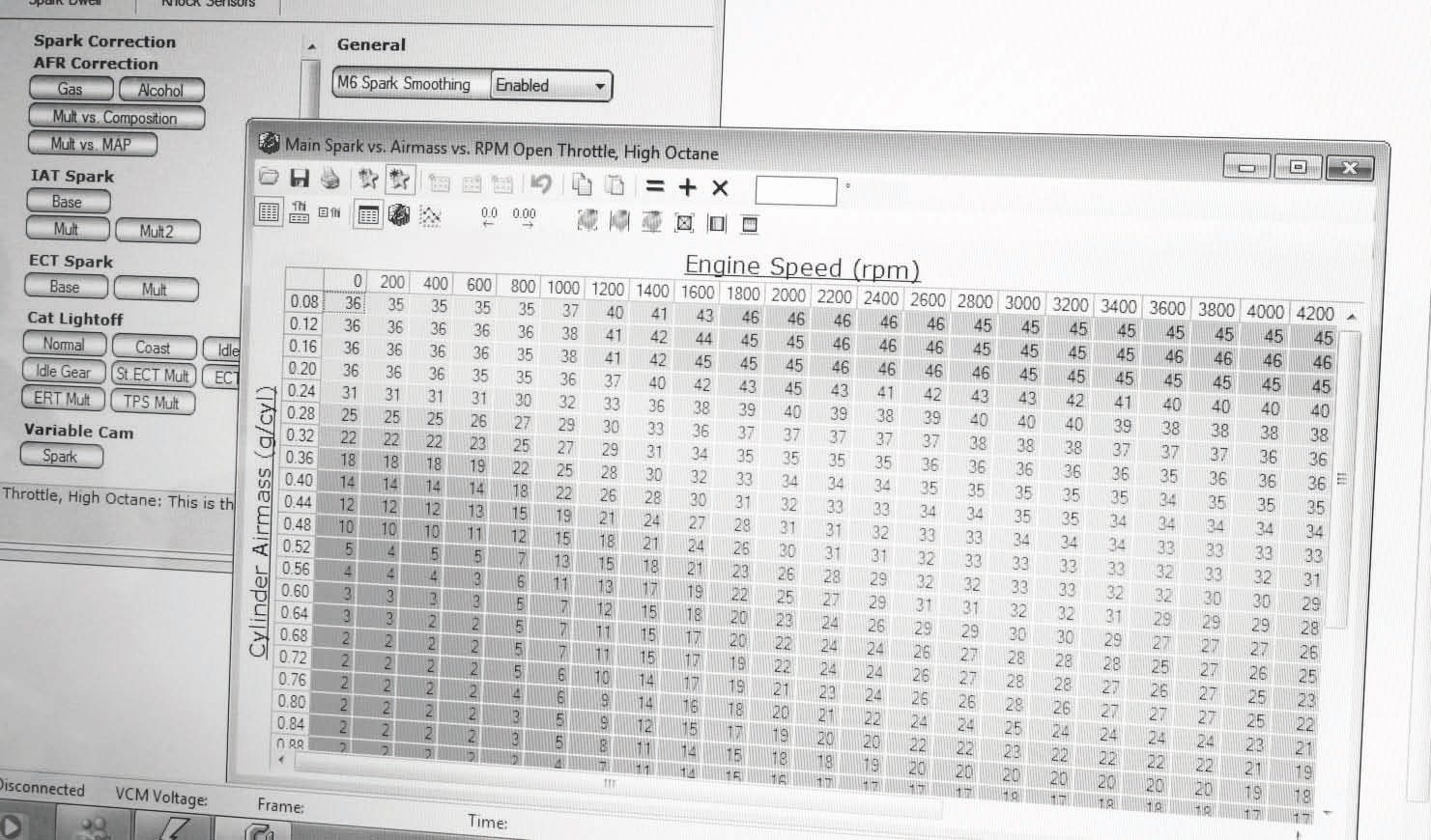 Here's an example of an editable screen from HP Tuners' flash memory utility. When the tables are adjusted, the settings are saved and uploaded to the engine controller. It then directs the engine and/or transmission as programmed. Knowing which values to change and what to change them to is the trick of tuning. An understanding of how the values affect the engine and transmission is necessary before modifying them.