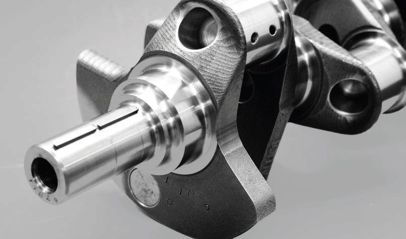 "A forged-steel crankshaft is a must for forced-induction engines in order to build strength into the engine assembly. They're capable of supporting tremendous power levels of up to 1,500 hp or more. Billet-steel crankshafts are also available at a greater cost, but there is conflicting opinions on whether they deliver greater strength than a forged-steel crank made of the same material. As the name implies, billet-steel cranks are cut from a single piece of stock, while a forged crank is ""pounded"" into shape."