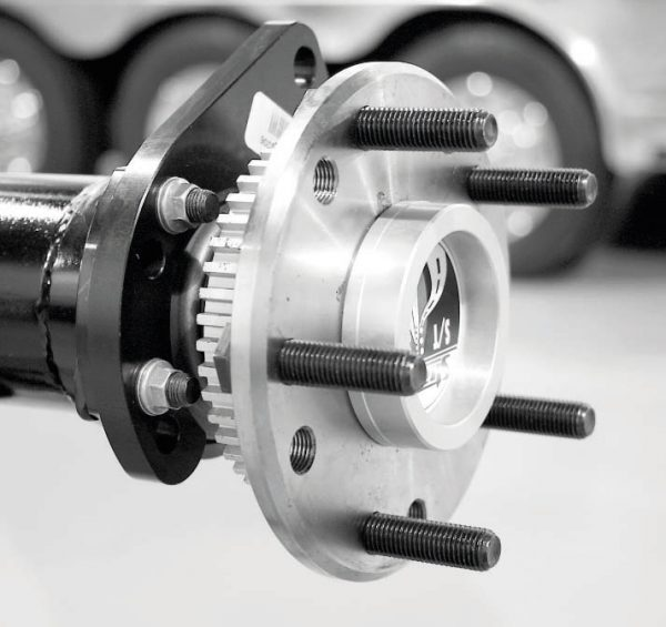 The axles are Strange's own induction-hardened, 35-spline S/T units. They are super strong and designed for street and strip duty. The axle also features a Power-Lok locking differential and a set of 3.73 gears