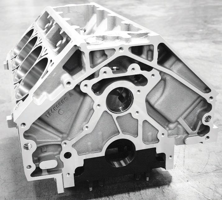 "The GM Performance Parts C5R cylinder block (PN 12480030) is very stiff and its specially machined, 356-T6M-alloy aluminum casting is X-rayed and ""hipped,""which is a reference to the hot isostatic pressure process that pressurizes, heats, and cools the casting to virtually eliminate any chance for porosity. It is a time consuming procedure that contributes to the block's nearly $6,000 list price. But for all its strength, the C5R was designed for about 750 to 900 naturally aspirated horsepower and, thus, does not include six-bolt head clamping as does the LSX block."