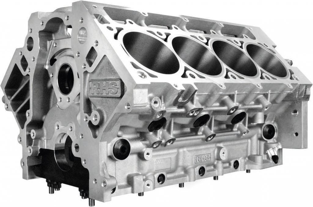The RHS LS Race Block is the newest performance cylinder block on the market, and features the same six-bolt pattern as the GM LSX block. A raised-camshaft position (sized to accept a 60-mm camshaft) and oil galleries that are pushed outward enable a generous 4.600-inch stroke without rod-to-block interference. Various bore sizes are available, with the largest being 4.165 inch. Coupled with the maximum stroke, this aluminum, six-bolt block can offer more than 500 ci.