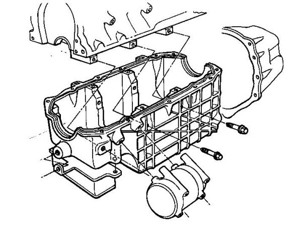 This other early drawing shows how the oil pan would be a cast-aluminum structural component to add stiffness to the engine/transmission combination. This helps the vehicle engineers to minimize low-frequency vehicle vibrations. Also, the Gen III block, heads, and oil pan were to incorporate many of the bosses required to mount the accessory components. You can see this here in the oil-pan-mounted airconditioning compressor. The cutaway for the A/C compressor didn't make the cut, but the compressor does mount directly to the block/oil pan.