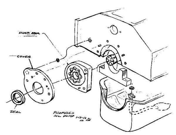 The oiling system, especially the stressed-member oil pan, was by far the most challenging aspect of getting the Gen III LS1 V-8 to work in the '97 Corvette. This drawing from early 1992 shows the idea of putting the gerotor oil pump at the front of the engine and the location of the oil passages in the block. This is very close to how the Gen III oiling system works.