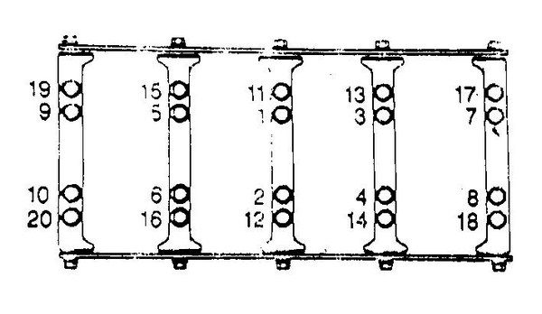 7. This illustration details the GM recommended main-cap torquing sequence. Once all the caps are fully nested in the block, start by torquing fasteners 1-20 to 22 ft-lbs, and then loosen them. Push the crank forward to full thrust. Re-torque fasteners 1- 10 to 15 ft-lbs, then add 80 degrees of torque angle. Then, torque fasteners 11-20 to 15 ft-lbs and loosen them to hand tight. Re-torque them to 15 ft-lbs and add 53 degrees of torque angle. Now torque fasteners 21-30 to 18 ft-lbs, doing them as pairs per each main cap. The side bolts can be reused but need to be cleaned and have a small bead of sealer put under the head of the bolt because they thread into the crankcase.