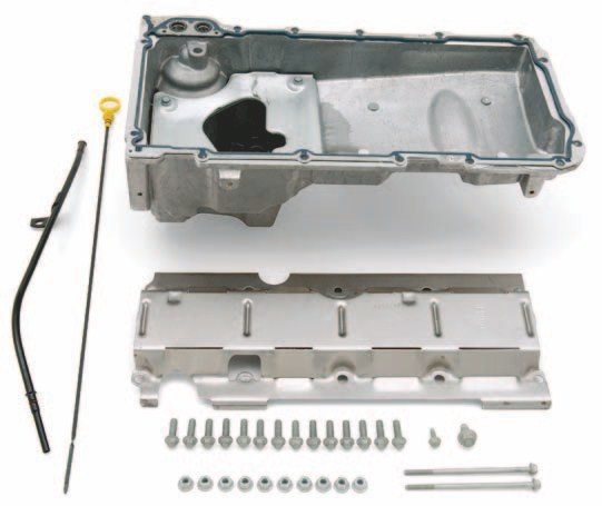 Here's General Motors' answer to the 1955 to mid-1980s LS swap. This pan combination fits most vehicles. More important, it fits the first- and second-generation-F-Body. (Photo Courtesy General Motors)