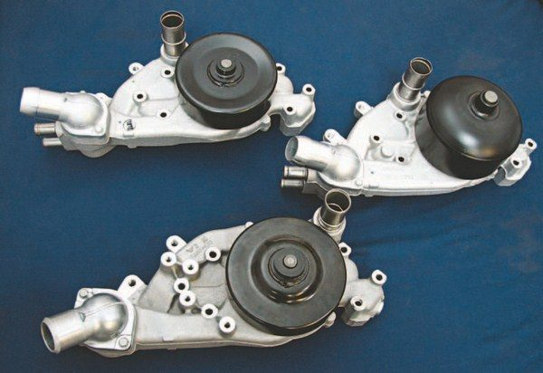 These are three typical water pumps. The one with the larger bells is the most versatile as it can be made to fit the F-Body and the Corvette-style balancers. (Photo Courtesy Street & Performance)