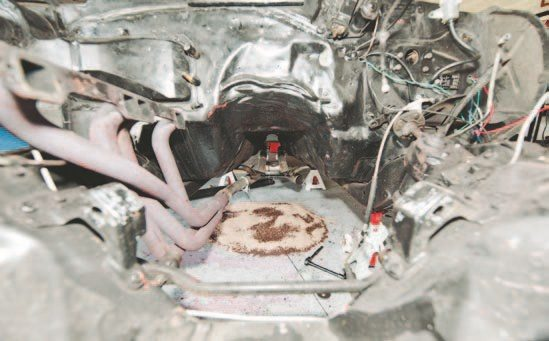 Thankfully I started out with a fairly solid Camaro body. The transmission tunnel doesn't need to be cut up. Contrary to popular belief, you don't have to cut the transmission tunnel to get a T56 to fit well. If you have a modified frame mount or lower than usual mounts, this may change.