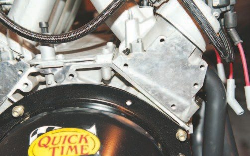 The obvious difference between the blocks is shown here. The upper right bellhousing bolt has been eliminated but it does not affect performance of the bellhousing or its strength.