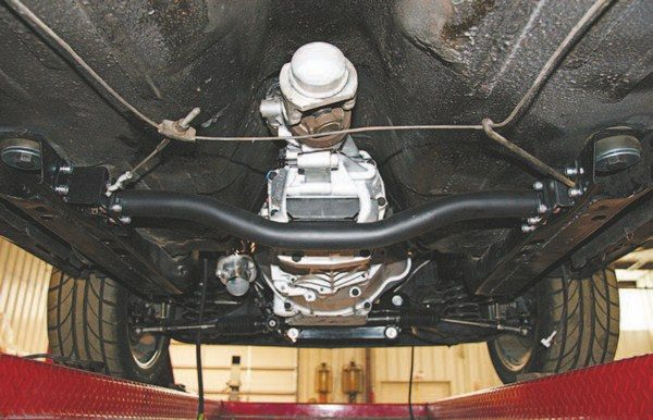 Here's a version of a custom transmission crossmember that bolts in from the side rather than from the top. (Photo Courtesy Texas Speed & Performance)