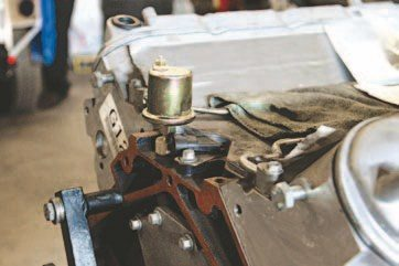 The smaller of the two sending units is the electrical sweep unit. They are solid state, and therefore Auto Meter claims they are less prone to failure from vibrations like its mechanical cousins. The larger unit can be difficult to fit because it takes up more space. In such cases Auto Meter recommends using a piece of braided hose to relocate the unit to a lateral position. This does not have an impact on the reading of the gauge. (Photo Courtesy Auto Meter)