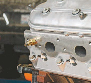 The head is already pre-drilled and tapped to accept an electronic sending unit, which is installed in the head. (Photo Courtesy Auto Meter)