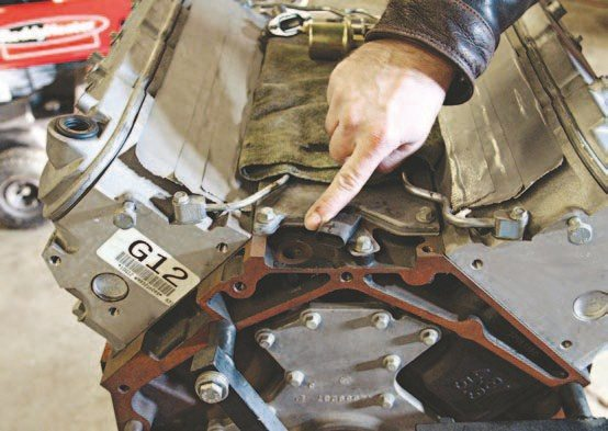 Just as on the small-block Chevy, the oil pressure port is located at the back of the engine. (Photo Courtesy Auto Meter)