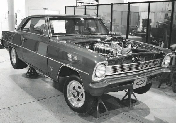 This is the Nova for which Martin Motorsports built the classic blower combination. The engine is shown test fitted in the chassis, but it doesn't have the intercooler installed yet. That will add about another 4 inches to the blower's height, pushing it even higher out of the hood. There's no reason a similar, retro-style setup couldn't be adapted to, say, a fifth-generation Camaro—giving it a classic street-machine look with modern drivability and performance.
