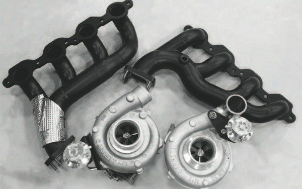 The turbo system is designed to mount the turbochargers directly to custom, heavy-duty exhaust manifolds. In the low-slung Corvette chassis, that still puts them at the bottom of the engine compartment, which helps keep heat farther away from the engine and air-intake system.
