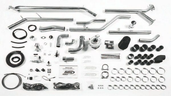 Here's an STS kit all laid out. Basically, the kit is comprised of tubing, clamps, and the hardware required to install the turbo and its supporting components. Not seen here is a separate intercooling system that is partnered with many of the kits. Additional components are also required, including higher-capacity fuel injectors and a fuel-pump booster. (Photo courtesy Squires Turbo Systems)