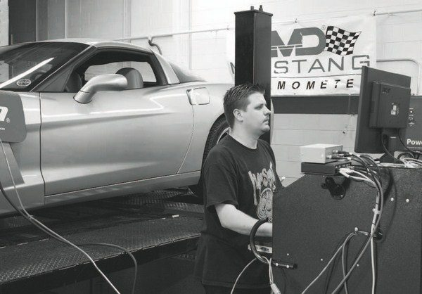 """After a """"pull"""" on the chassis dyno, the technician notes the recorded horsepower and torque measurements at the rear wheels and compares them with the baseline numbers that were recorded prior to the installation of the supercharger or turbo system. The graphs generated by the dyno pull not only point out the peak power numbers, but graph them in RPM increments, showing where in the rev range the power increases are most effective. If the vehicle is equipped with wideband oxygen sensors, air/fuel ratio measurements are also compared."""