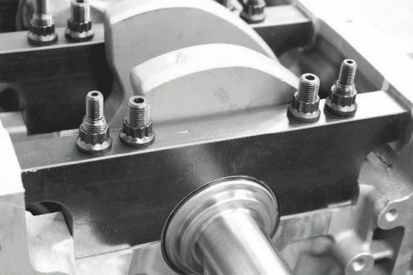 When it comes to installing the crankshaft and main bearing caps, the cap fasteners should be the best you can afford. Rather than using the production-style combination of studs and bolts, all of the main caps should be secured with studs and nuts for more accurate fastening and repeatable removal and installation on an engine that will see moderate to frequent teardowns. ARP's 200,000- psi studs and 12-point bolts (seen here) are the best on the market and should be highly considered.