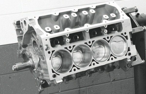 Katech Performance's Value 402 short-block kit is typical of blower-friendly assemblies. It uses all forged rotating parts, along with D-shaped, dished lowcompression pistons. The balancing and blueprinting steps performed during assembly make it a very good starting point for a home builder who wants to finish the engine with his heads and induction system. Similar short-blocks are available from World Products, using their Warhawk block, as well as other LS engine builders.