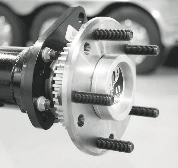 The axles are Strange's own induction-hardened, 35-spline S/T units. They are super strong and designed for street and strip duty. The axle also features a Power-Lok locking differential and a set of 3.73 gears.