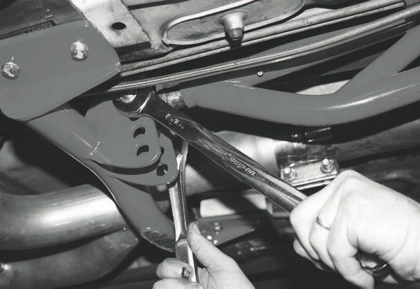 The final step of the project was the reinstallation of the torque arm cross member and torque arm. Now, the car's rear end is ready for the torque of a supercharged engine.