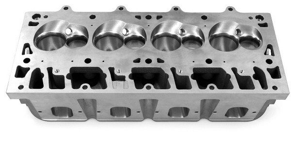 As displacement figures continue to grow, the aftermarket is stepping up with serious cylinder heads that flow enough air to feed all those hungry cubic inches. These LSX-DR castings from GMPP are capable of flowing 430 cfm through the intake ports and 280 cfm on the exhaust side. That's enough to embarrass most big-block heads. (© GM Corp.)