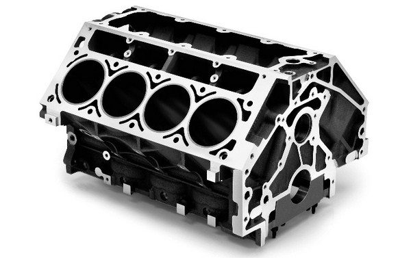 Several versions of the LS1/LS6 block were produced, but they are all very similar. GM revised the oil galleries at the rear of the block in 1999, and in 2001, new breathing holes were cast into the main webs to improve bay-to-bay flow of gases through the crankcase. (© GM Corp.)