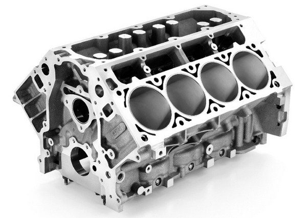 Some people scratched their heads when GM revealed that the LS9 would be smaller in displacement than the LS7, but engineers determined that the LS7's cylinder walls were too thin to support 638 hp and survive rigorous factory durability testing. The solution was to go with a smaller 4.065-inch-bore block, which allowed for thicker cylinder walls. (© GM Corp.)