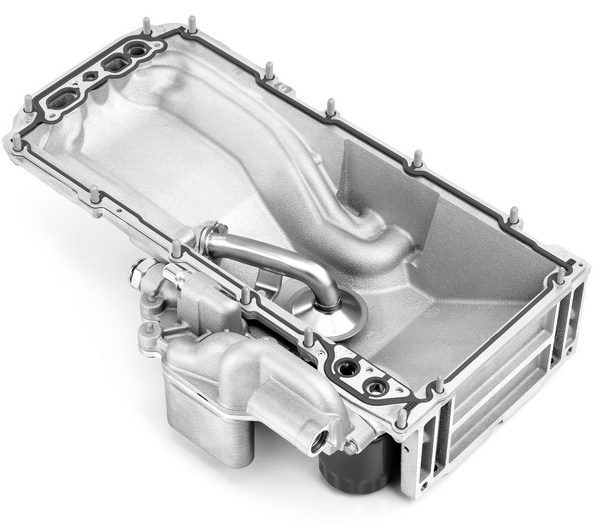 Well aware of the importance of managing oil temperature, GM installs factory oil coolers on Gen IV small-blocks, such as the LS3, L99, and LS9. The cooler is essentially a small heat sink integrated into the driver side of the oil pan. (© GM Corp.)